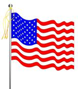 Waving stars and stripes Stock Illustration