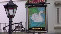 The swan pub sign Stock Footage