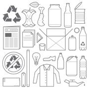 Recycling and various waste icons Stock Illustration