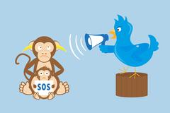 Blue bird is shouting through a megaphone on monkeys Stock Illustration