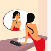 Brunette sensual woman looking at mirrow in WC - stock illustration