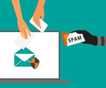 Email protection from spam - stock illustration