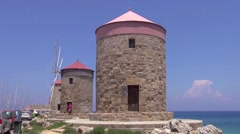 Windmills in Rhodes Town Stock Footage