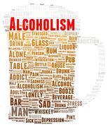 Alcoholism word cloud shape Stock Illustration