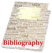 bibliography word cloud shape - stock illustration