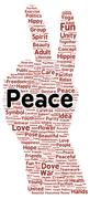 peace word cloud shape - stock illustration
