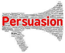 Persuasion word cloud shape Stock Illustration