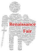 renaissance fair word cloud shape - stock illustration