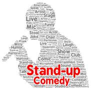 Stand-up comedy word cloud shape Stock Illustration