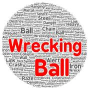 Stock Illustration of wrecking ball word cloud shape
