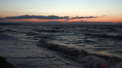 Scene of strong sea surf at sunset Stock Footage