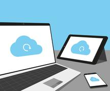 Laptop, tablet pc and smartphone with cloud sync - stock illustration