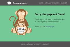 Monkey looking for fleas. Page not found Error 404 Stock Illustration