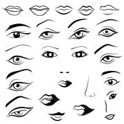 Human eyes, lips, eyebrows and noses Stock Illustration