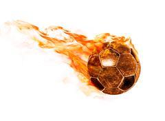 fiery ball on white - stock photo