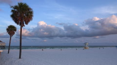 Clearwater Beach and lifeguard station Stock Footage