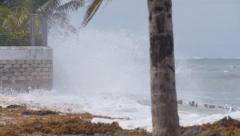 Storm waves from Hurricane Gonzalo  slow motion 1 of 2 Stock Footage