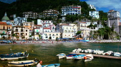 Beautiful view of Cetara,, Amalfi Coast, Italy, time lapse Stock Footage