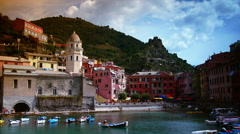 The little port of Vernazza in the Cinque Terre Stock Footage