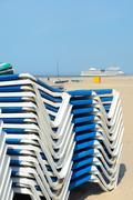 Beach chairs in dutch ijmuiden Stock Photos