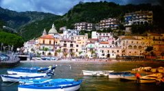 Beautiful view of Cetara,, Amalfi Coast, Italy, time lapse,4k Stock Footage