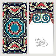 decorative label card for vintage design, ethnic pattern, antiqu - stock illustration