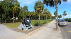 A fisheye lens shot of a historic civil war park in downtown Charleston, SC Stock Footage