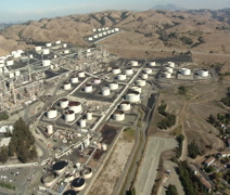 Oil Refinery - Aerial 02 - stock footage