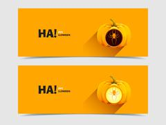 Halloween pumpkins with a carved spider Stock Illustration