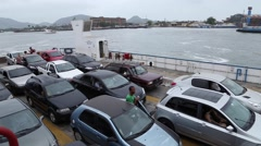 A domestic Car Ferry Boat between Guaruja and Santos in Sao Paulo, Brazil Stock Footage
