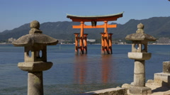 Torii Gate and Stone Lanterns at Miyajima Stock Footage