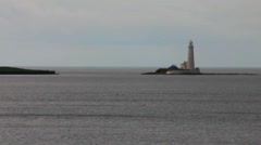 Whitley Bay. Lighthouse at North Sea Stock Footage