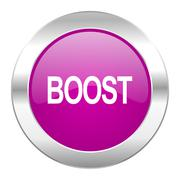 boost violet circle chrome web icon isolated. - stock illustration