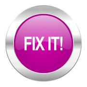 Stock Illustration of fix it violet circle chrome web icon isolated.