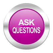ask questions violet circle chrome web icon isolated. - stock illustration