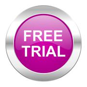 free trial violet circle chrome web icon isolated. - stock illustration