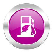 Biofuel violet circle chrome web icon isolated. Stock Illustration