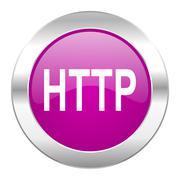 Http violet circle chrome web icon isolated. Stock Illustration