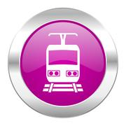 Train violet circle chrome web icon isolated. Piirros