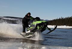 snowmobile in winter - stock photo