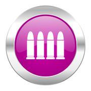 ammunition violet circle chrome web icon isolated. - stock illustration