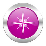 Stock Illustration of compass violet circle chrome web icon isolated.