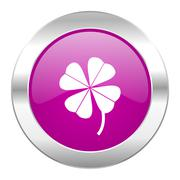 four-leaf clover violet circle chrome web icon isolated. - stock illustration