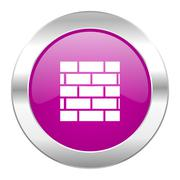 firewall violet circle chrome web icon isolated. - stock illustration