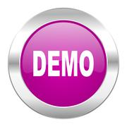 Demo violet circle chrome web icon isolated. Stock Illustration