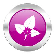 Leaf violet circle chrome web icon isolated. Stock Illustration