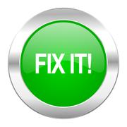 fix it green circle chrome web icon isolated. - stock illustration