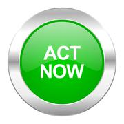 Stock Illustration of act now green circle chrome web icon isolated.