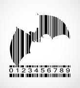 Barcode Bat  Image Vector Illustration - stock illustration