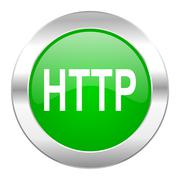 http green circle chrome web icon isolated. - stock illustration